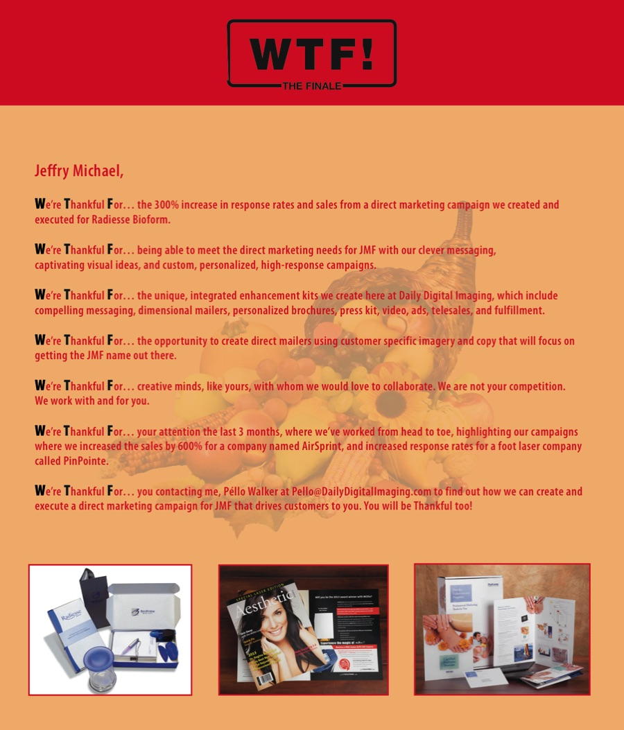 I created, wrote and selected visuals for this three-month provocative WTF! personalized direct mailer campaign, with the WTF not being what is expected. The campaign included mandates to include statistics and other copy, as well as specific photos, while still getting attention. The September WTF!, October WTF! Returns and the November WTF! The Finale.